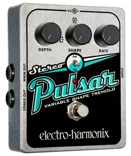 Electro-Harmonix STEREO PULSAR Variable Shape Analog Tremolo Battery included, 9.6DC-200 PSU optional