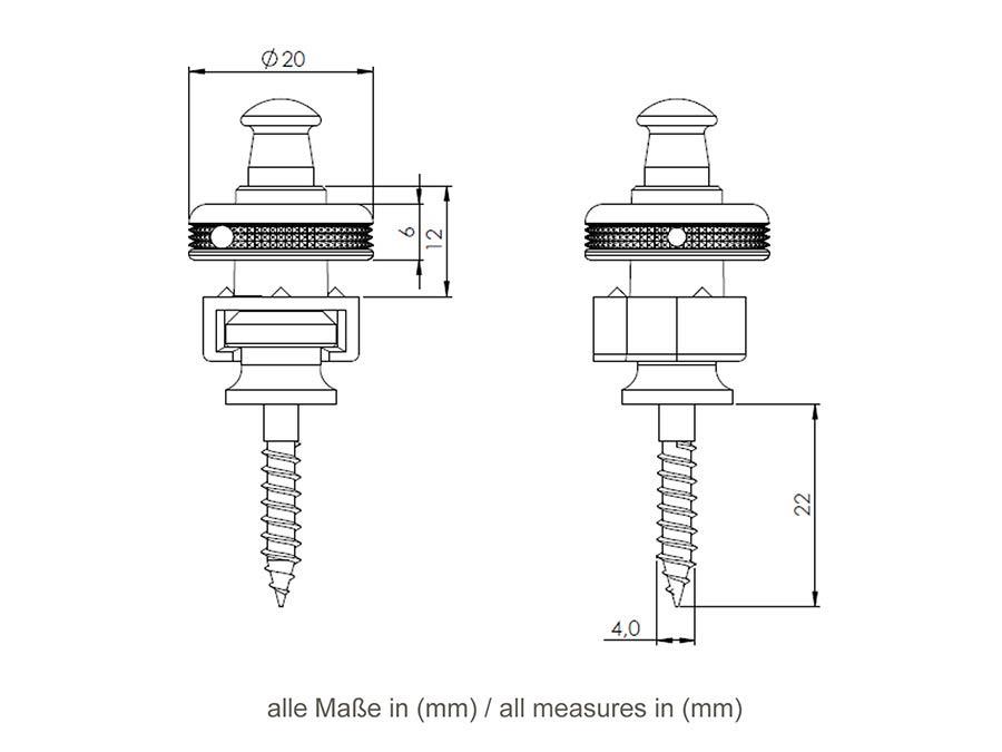 Schaller S-locks Strap Locks - Black Chrome