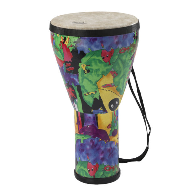 """Remo Drum, Kids Percussion, Djembe, 8"""" , 14"""" Height, Pre-Tuned, Fabric Rain Forest"""