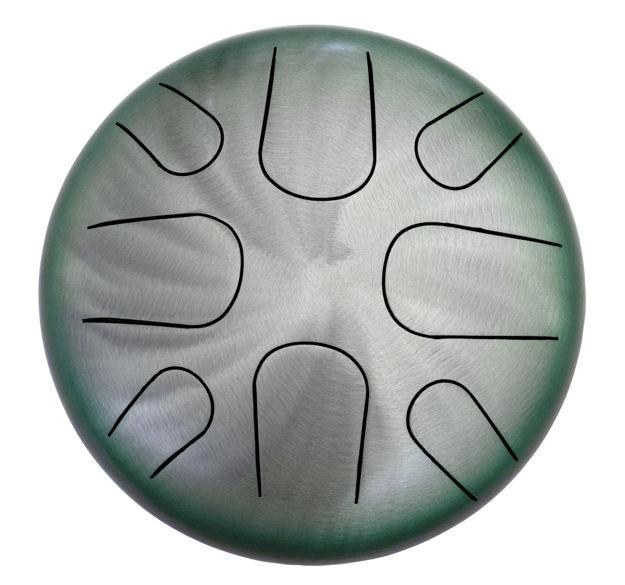 "Pearl Tongue Drum 8 note  A Minor | Natural Green Burst 10"""