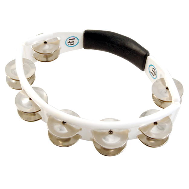 Latin Percussion LP152 Tambourine Cyclop hand held - Steel Jingles, white
