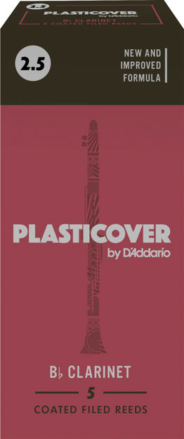 Plasticover by D'Addario Bb Clarinet Reeds, Strength 2.5, 5-pack