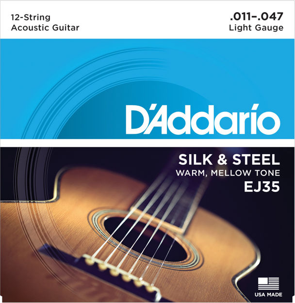 D'Addario EJ35 Silk & Steel 12-String Folk Guitar Strings, 11-47