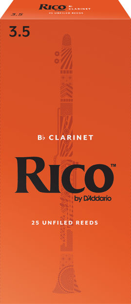 Rico by D'Addario Bb Clarinet Reeds, Strength 3.5, 25-pack