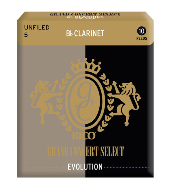 Rico Grand Concert Select Evolution Bb Clarinet Reeds, Strength 5.0, 10 Pack