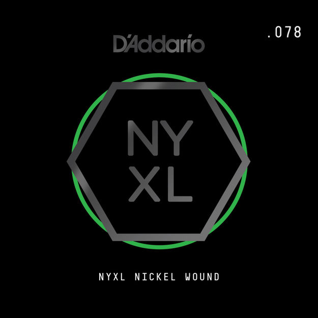D'Addario NYNW078 NYXL Nickel Wound Electric Guitar Single String, .078