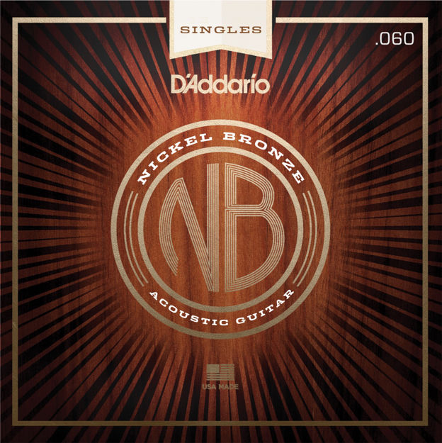 D'Addario NB060 Nickel Bronze Wound Acoustic Guitar Single String, .060