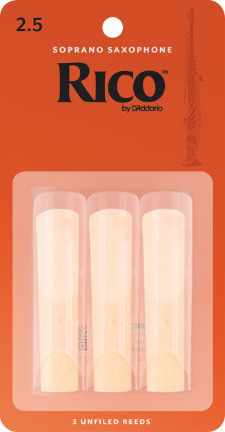 Rico by D'Addario Soprano Sax Reeds, Strength 2.5, 3-pack