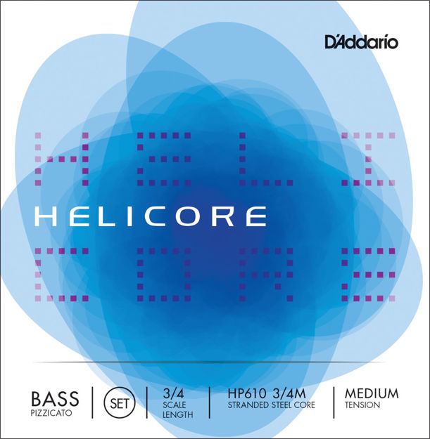 D'Addario Helicore Pizzicato Bass String Set, 3/4 Scale, Medium Tension
