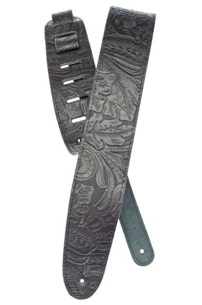 D'Addario Deluxe Leather Guitar Strap, Embossed, Black