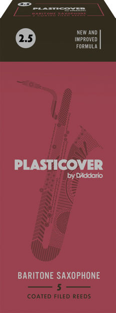 Plasticover by D'Addario Baritone Sax Reeds, Strength 2.5, 5-pack