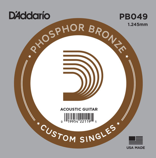 D'Addario PB049 Phosphor Bronze Wound Acoustic Guitar Single String, .049
