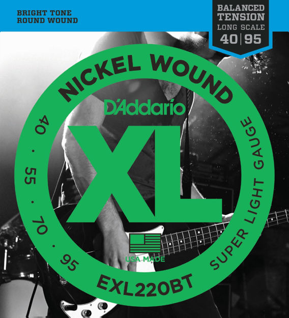 D'Addario EXL220BT Nickel Wound Bass Guitar Strings, Balanced Tension Super Light, 40-95, Long Scale