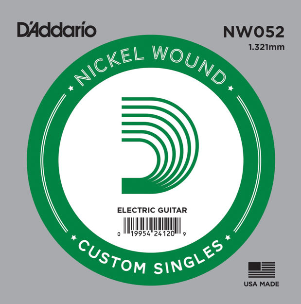 D'Addario NW052 Nickel Wound Electric Guitar Single String, .052