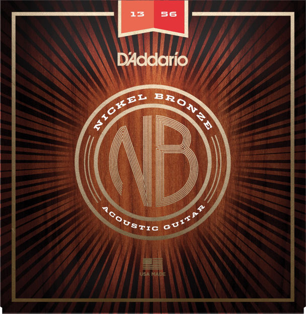 D'Addario NB1356 Nickel Bronze Acoustic Guitar Strings, Medium, 13-56