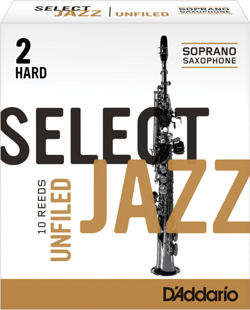D'Addario Select Jazz Unfiled Soprano Saxophone Reeds, Strength 2 Hard, 10-pack
