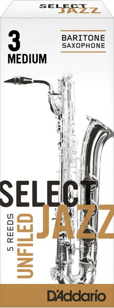D'Addario Select Jazz Unfiled Baritone Saxophone Reeds, Strength 3 Medium, 5-pack