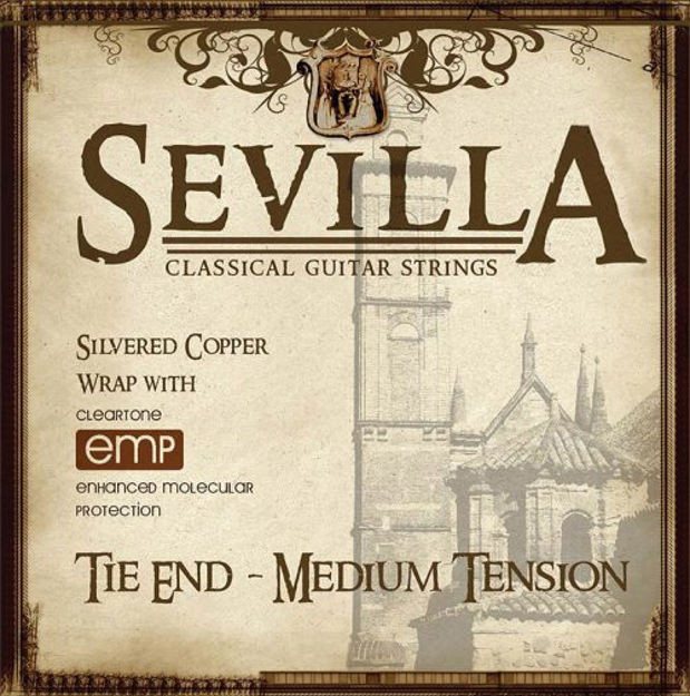SEVILLA TREATED CLASSICAL STRINGS MED. TENSION W/ TIE ENDS