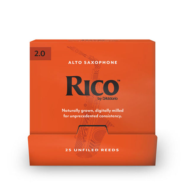 Rico by D'Addario Alto Saxophone Reeds, #2.0, 25-Count Single Reeds
