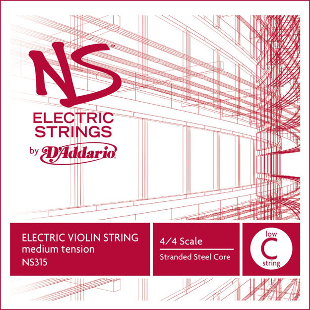 D'Addario NS Electric Violin Single Low C String, 4/4 Scale, Medium Tension
