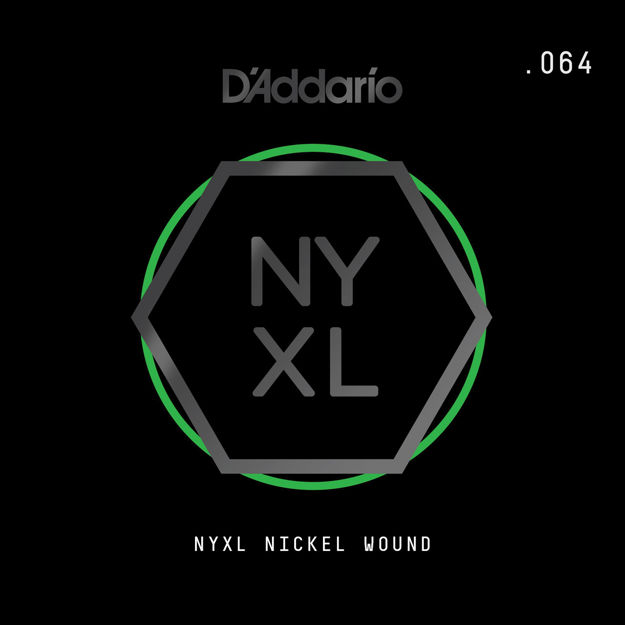D'Addario NYNW064 NYXL Nickel Wound Electric Guitar Single String, .064