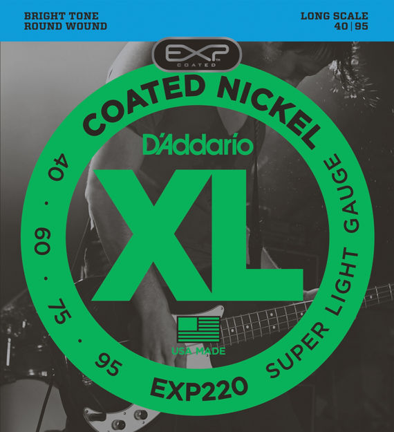 D'Addario EXP220 Coated Bass Guitar Strings, Super Light, 40-95, Long Scale