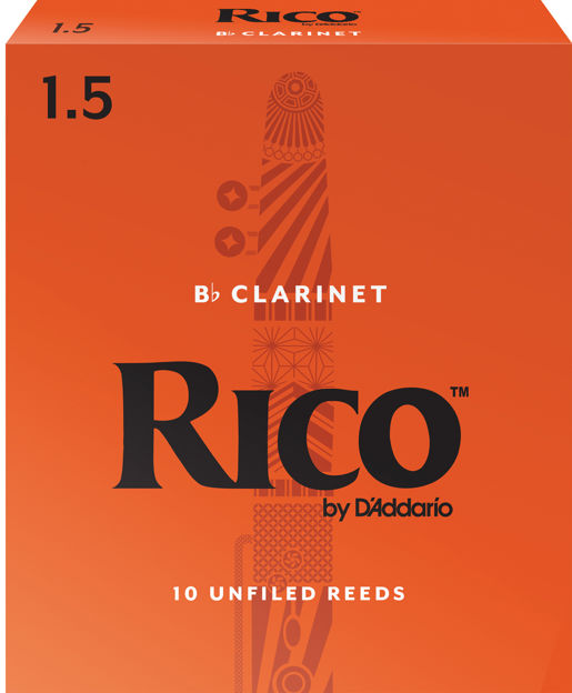 Rico by D'Addario Bb Clarinet Reeds, Strength 1.5, 10-pack