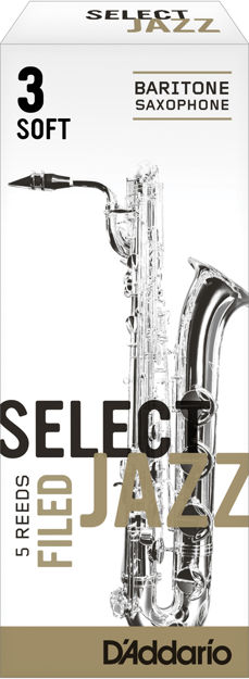 D'Addario Select Jazz Filed Baritone Saxophone Reeds, Strength 3 Soft, 5-pack