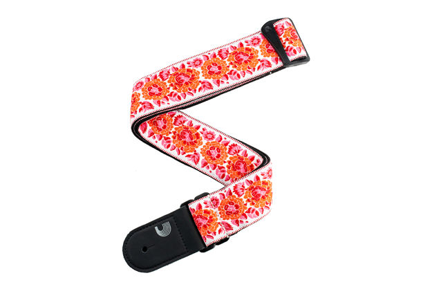 D'Addario Woven Guitar Strap, Peace Love, Pink and White