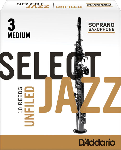 D'Addario Select Jazz Unfiled Soprano Saxophone Reeds, Strength 3 Medium, 10-pack