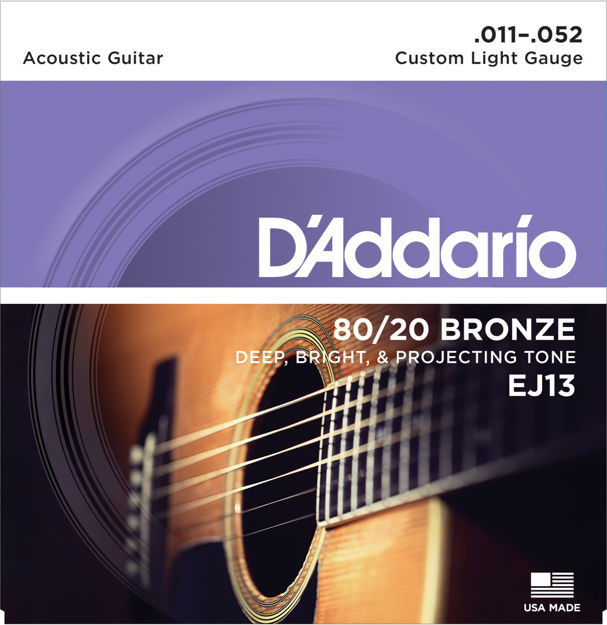 D'Addario EJ13 80/20 Bronze Acoustic Guitar Strings, Custom Light, 11-52
