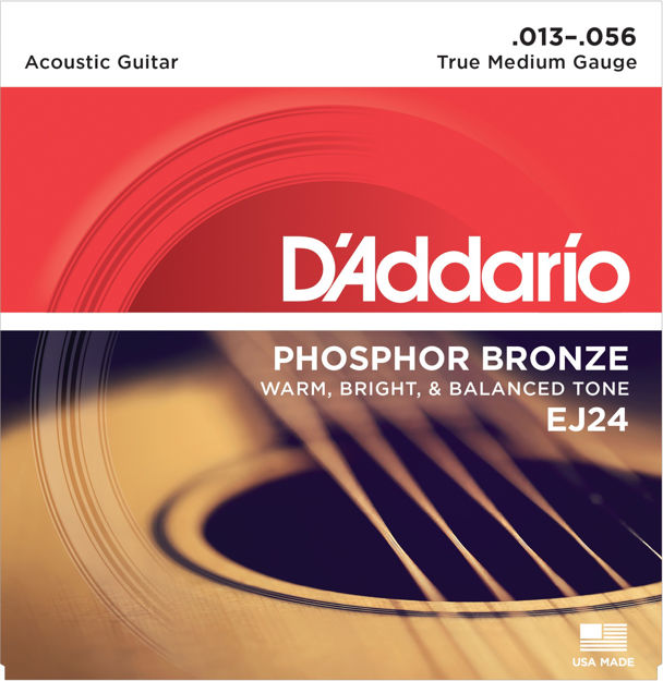 D'Addario EJ24 Phosphor Bronze Acoustic Guitar Strings, True Medium, 13-56