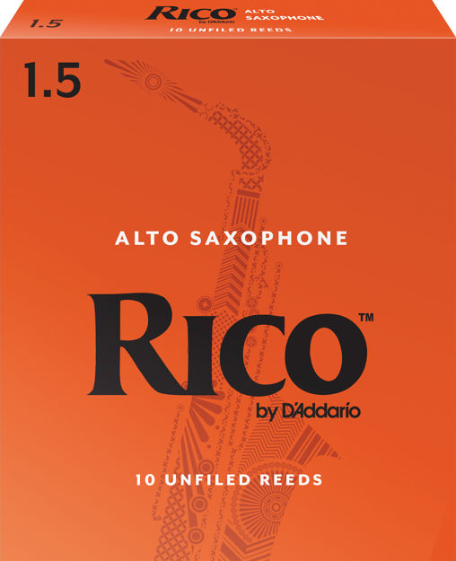 Rico by D'Addario Alto Sax Reeds, Strength 1.5, 10-pack