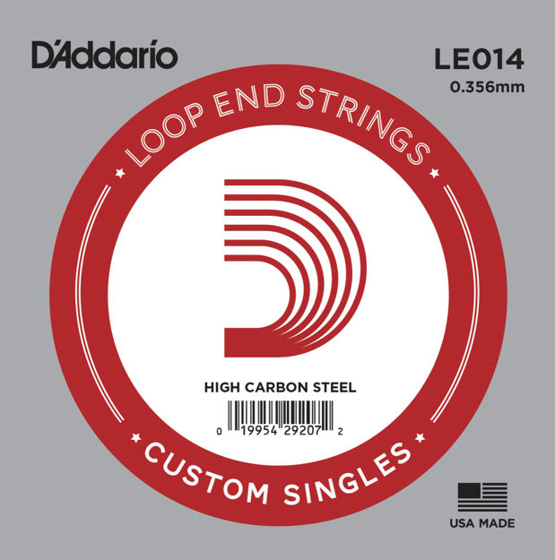 D'Addario LE014 Plain Steel Loop End Single String, .014