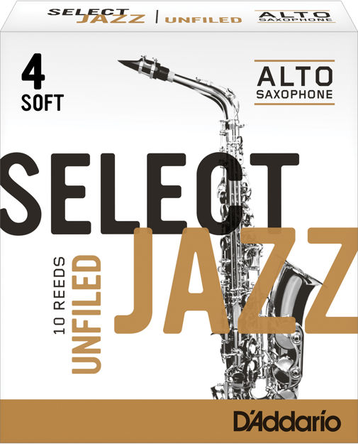 D'Addario Select Jazz Unfiled Alto Saxophone Reeds, Strength 4 Soft, 10-pack