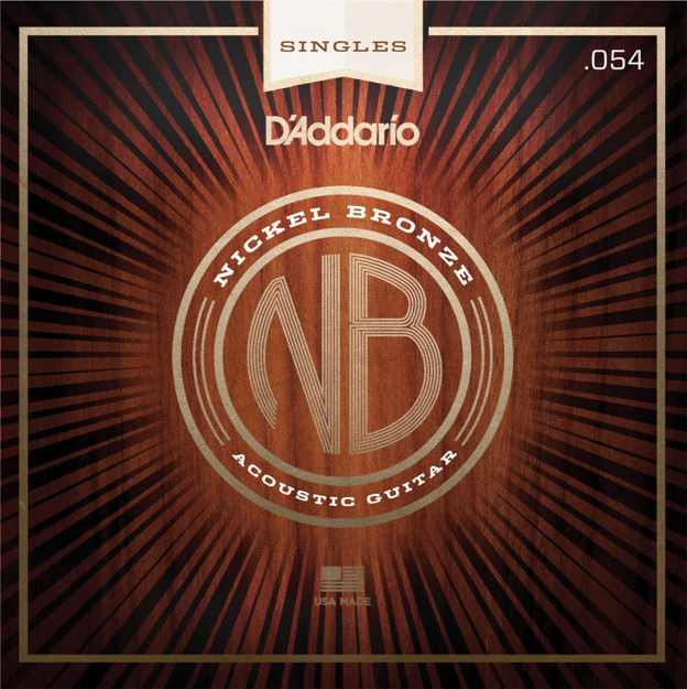 D'Addario NB054 Nickel Bronze Wound Acoustic Guitar Single String, .054