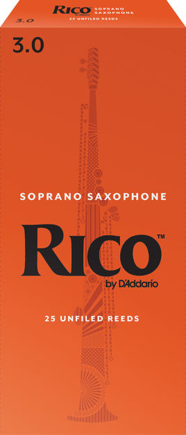 Rico by D'Addario Soprano Sax Reeds, Strength 3, 25-pack