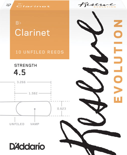 D'Addario Reserve Evolution Bb Clarinet Reeds, Strength 4.5, 10-pack