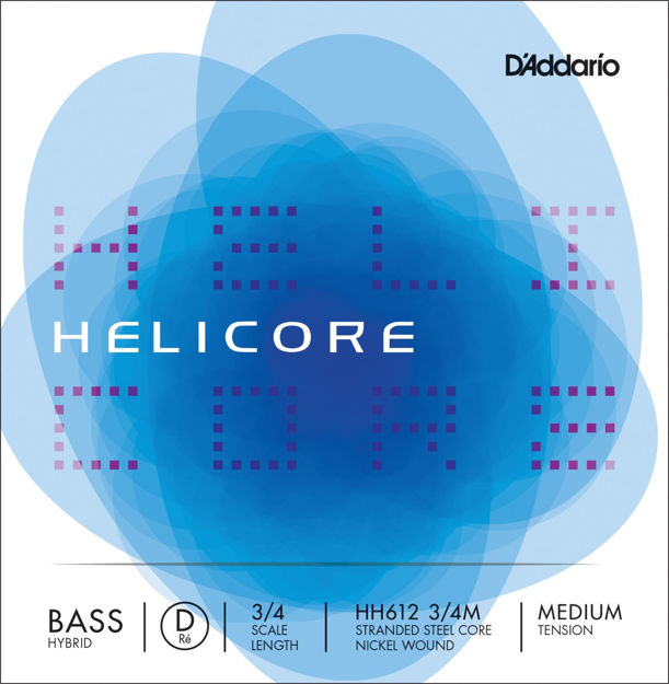 D'Addario Helicore Hybrid Bass Single D String, 3/4 Scale, Medium Tension