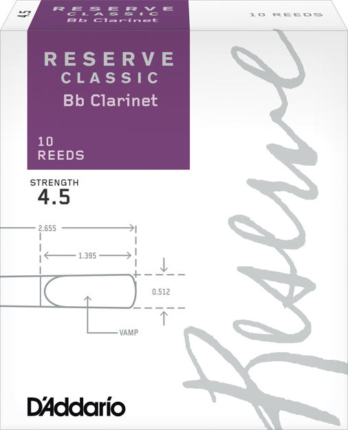 D'Addario Reserve Classic Bb Clarinet Reeds, Strength 4.5, 10-pack