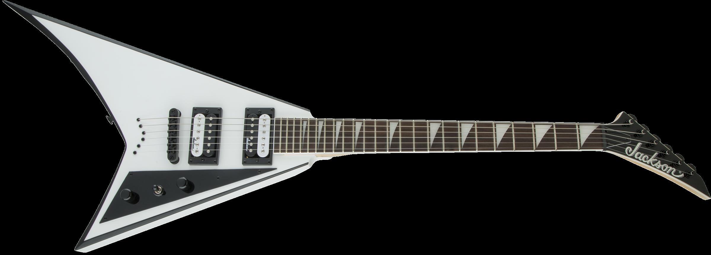 Jackson JS Series Rhoads JS32T, Amaranth Fingerboard, White with Black Bevels