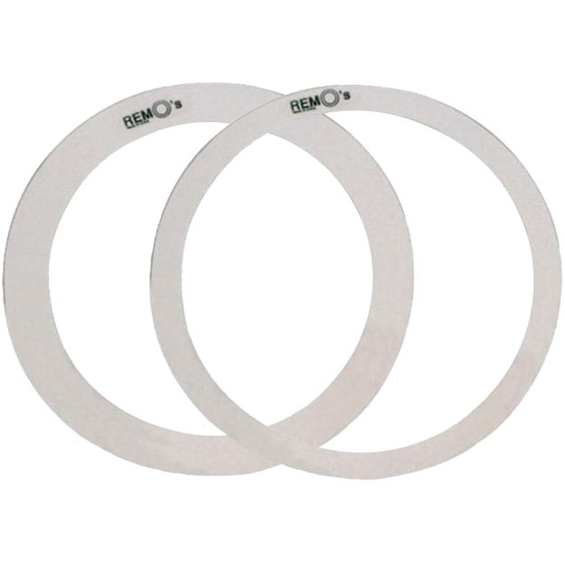 """Remo Rem-O Rings, 14"""" Dia, 1"""" + 1.5"""" Widths (1pc Ea), 10-Mil Hazy Film, Packaged With Header Card"""