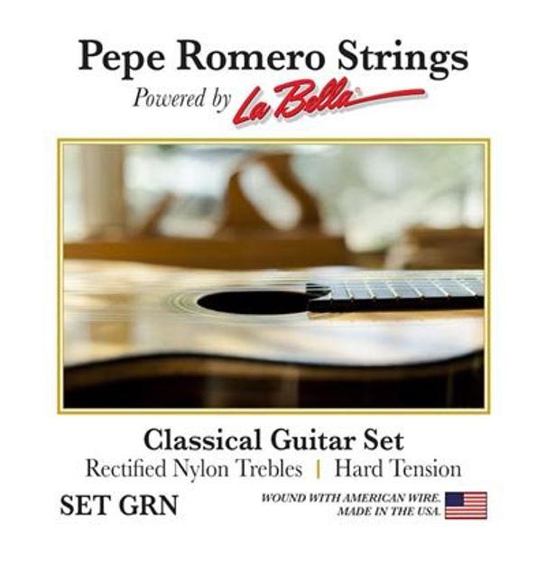 Pepe Romero Strings GRN Classical Guitar Set, Rectified Nylon Trebles, Hard Tension