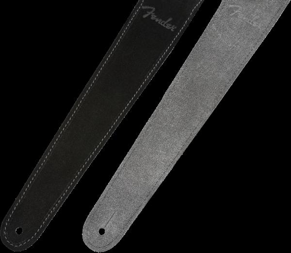 "Fender 2"" Suede Strap, Black/Gray, Reversible"