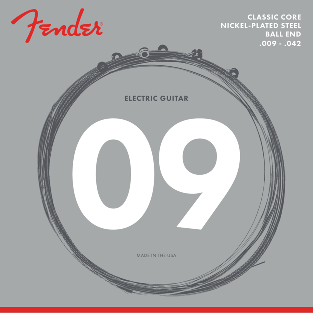 Fender Classic Core Electric Guitar Strings, Nickel-Plated Steel, Ball Ends