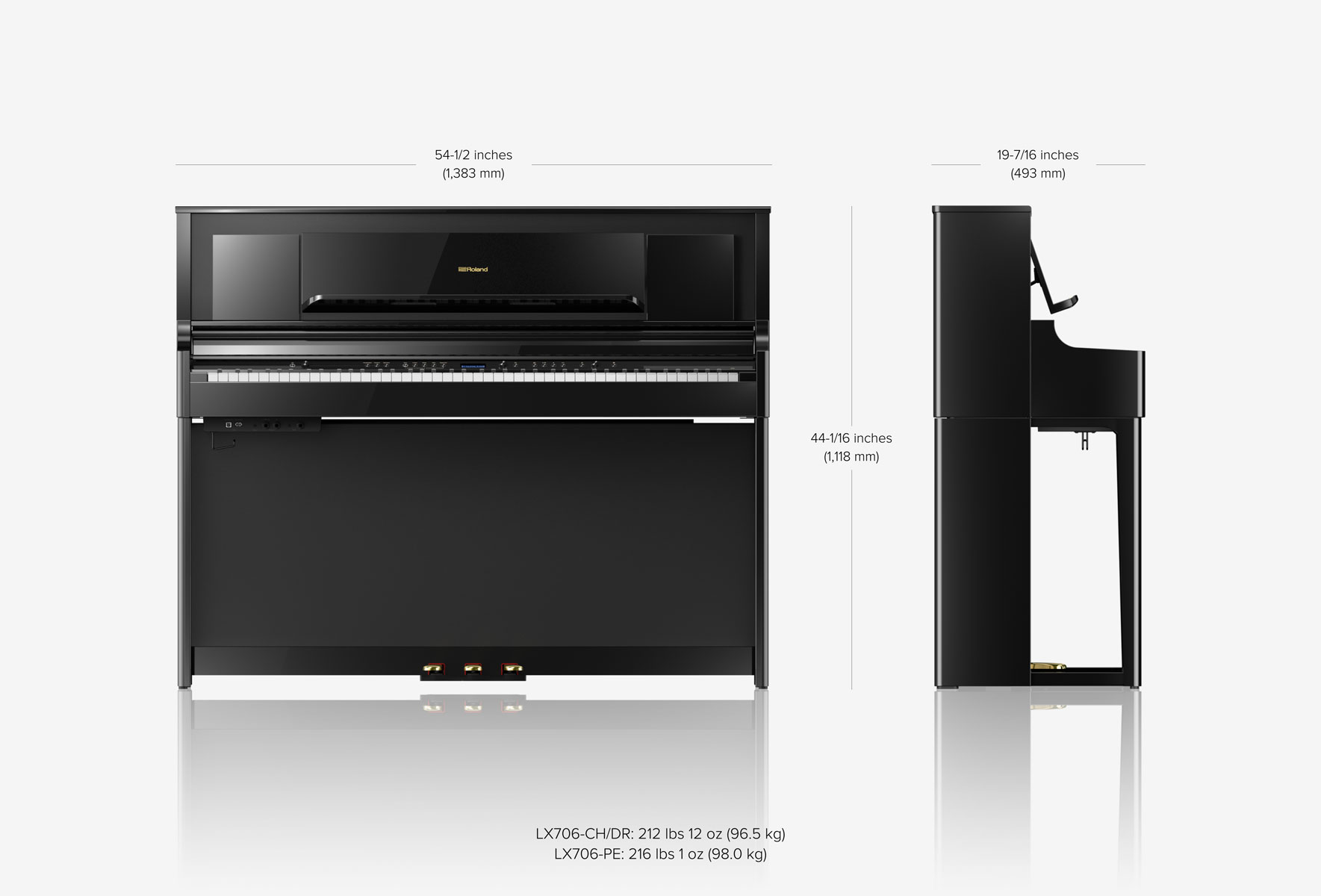 Roland LX706 - LUXURY UPRIGHT PIANO (CHARCOAL BLACK)