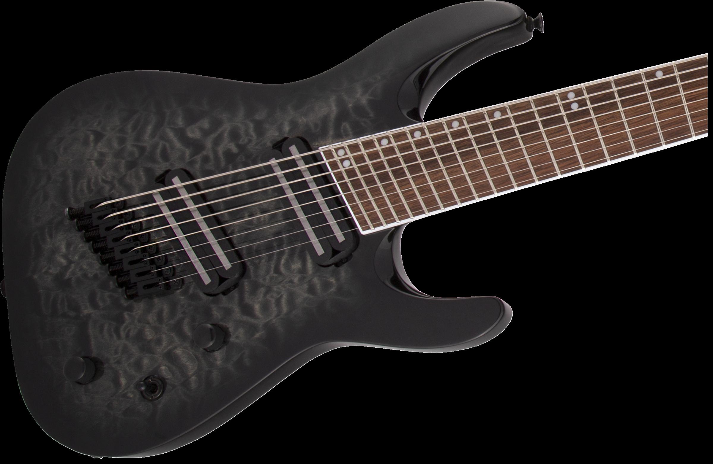 Jackson X Series Soloist™ Arch Top SLATX8Q MS, Laurel Fingerboard, Multi-Scale, Transparent Black Burst