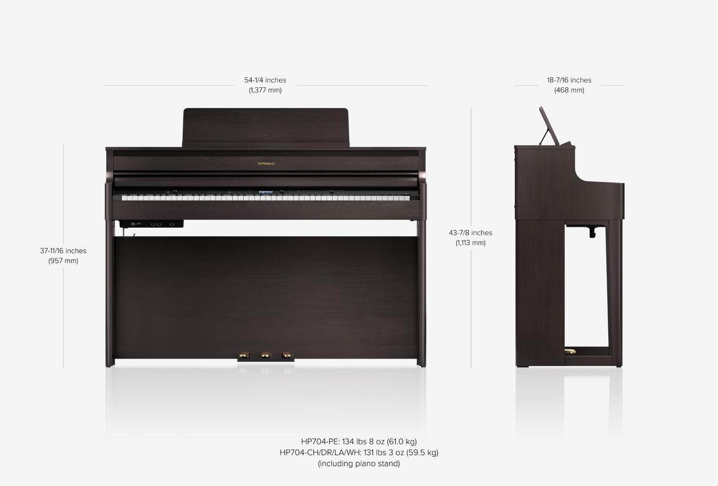 Roland HP704 Premium  Concert Class Piano (Charcoal  Black)