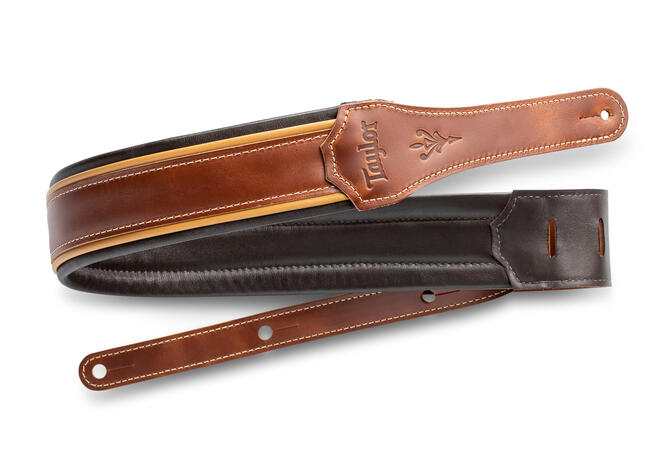 """TaylorWare 4107-25 Taylor Century Strap, Med Brown Leather, 2.5"""" Med Brown/Butterscotch/Black"""