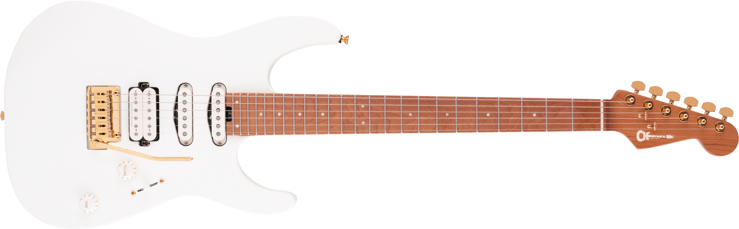 Charvel Pro-Mod DK24 HSS 2PT CM, Caramelized Maple Fingerboard, Snow White